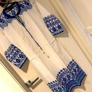 Blue and white kurta